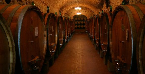 A Wine Cellar Full Of Barrels